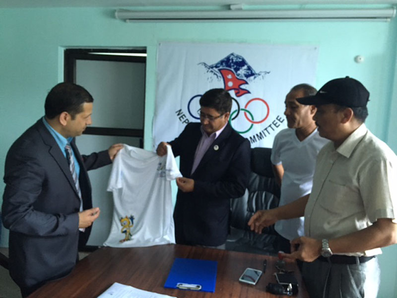 Nepal Olympic Committee and Global IME Bank signs an agreement for Rio Olympic Games squad as per the memorandum of understanding, on Thursday, July 28, 2016. Photo: THT