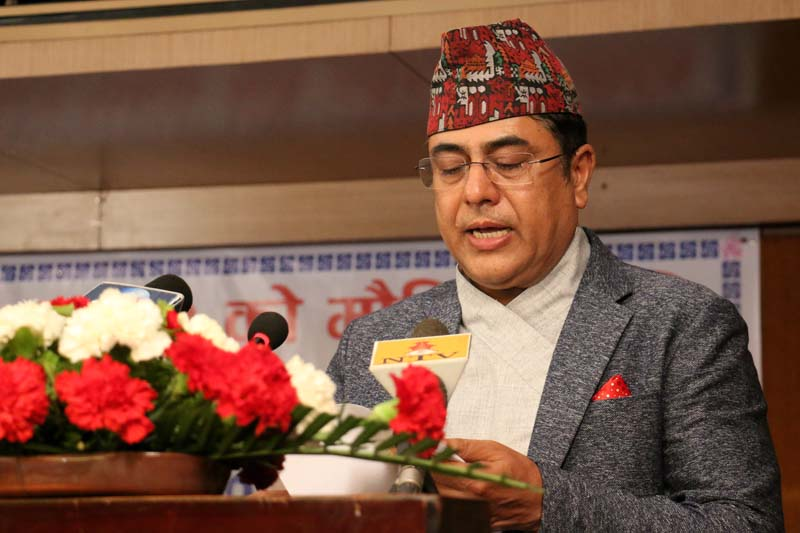 Nepal Rastra Bank (NRB) Governor Chiranjibi Nepal makes the monetary policy public for the fiscal year 2016/17, in Kathmandu, on Thursday, July 14, 2016. Photo: RSS