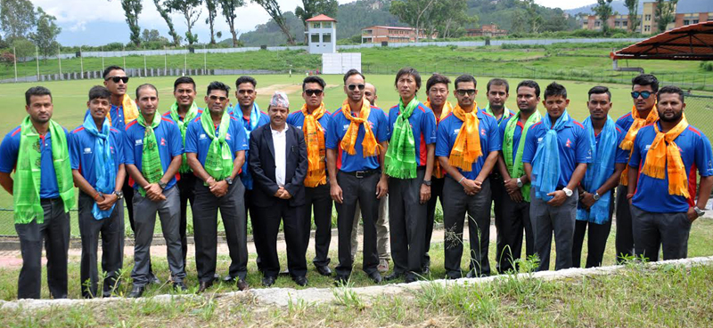 Nepal cricket team pose for a photograph before they leave for a tour to England to play against the Marylebone Cricket Club, in Kathmandu, on Sunday, July 10, 2016. The match has been scheduled for July 19 at the English clubu0092s home ground, Lordu0092s, in London. Photo: RSS