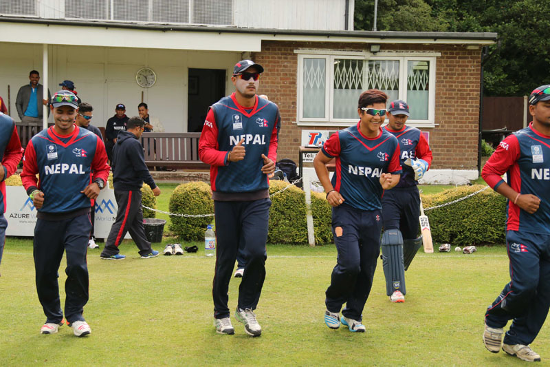 Nepali players take to field during the first innings of their practice match against the club Cricket Conference on Friday July 15, 2016. Photo: Raman Siwakoti