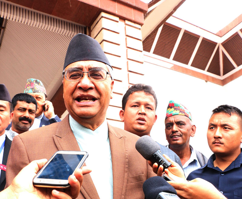 Nepali Congress President Sher Bahadur Deuba briefs the mediapersons about the decision made by Nepali Congress Central Working Committee meeting outside the Legislature-Parliament building in New Baneshwor, Kathmandu on Wednesday, July 13, 2016. Photo: RSS