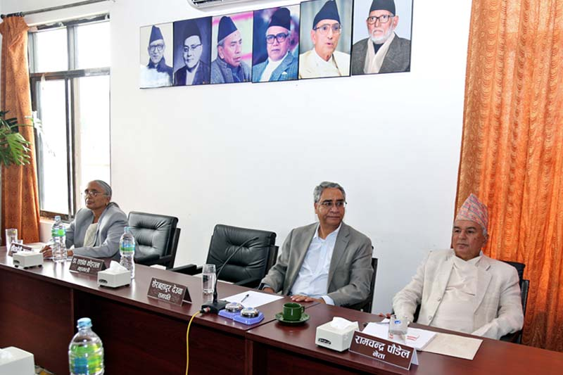 (From right) Nepali Congress leader Ram Chandra Paudel, President Sher Bahadur Deuba and Treasurer Sita Devi Yadav at the party's Central Working Committee meeting at the Nepali Congress Central Office, in Sanepa, on Tuesday, July 19, 2016. Photo: RSS