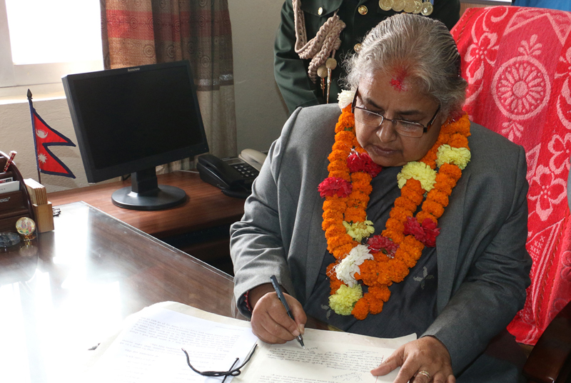 Newly appointed Chief Justice Sushila Karki assumes her office at the Surepeme Court on Monday, July 11, 2016. Photo: RSS