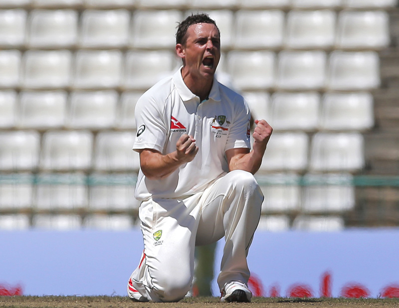 Australia's Steve O' Keefe, celebrates after taking the wicket of Sri Lanka's Kaushal Silva on day three of the first test cricket match between Sri Lanka and Australia in Pallekele, Sri Lanka, Thursday, July 28, 2016. Photo: AP