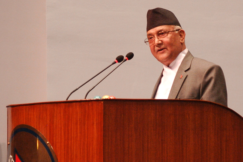 Prime Minister KP Sharma Oli answers the no-confidence motion filed against him and announces the resignation, at the Parliament meeting, on Sunday, July 24, 2016. Photo: Dhruba Ale