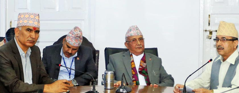 Prime Minister KP Sharma Oli (second from right) while receiving memorandum from the Members of Parliament from Banke, Bardia, Dang and Surkhet, at the Office of the Prime Minister and Council of Minsiter in Singhadarbar on Tuesday, July 12. Photo: RSS