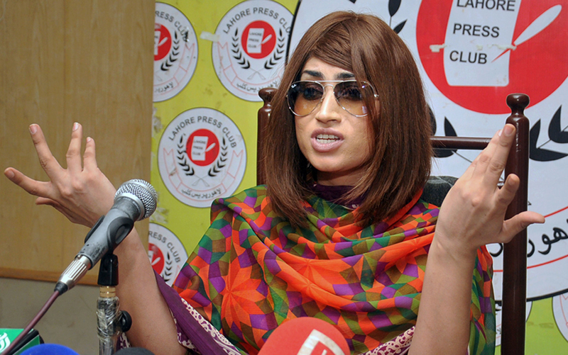 In this picture taken on June 28, 2016, Pakistani fashion model Qandeel Baloch speaks during a press conference in Lahore, Pakistan. Photo: AP