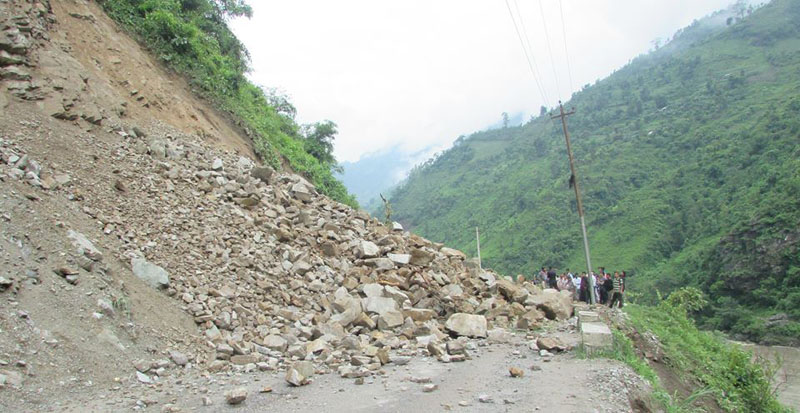 A view of a landslide that obstructed vehicular movement along Narayangadh-Muglin road section, at Panch Kilo in Chitwan district, on Friday, July 1, 2016. Photo: Tilak Ram Rimal/THT