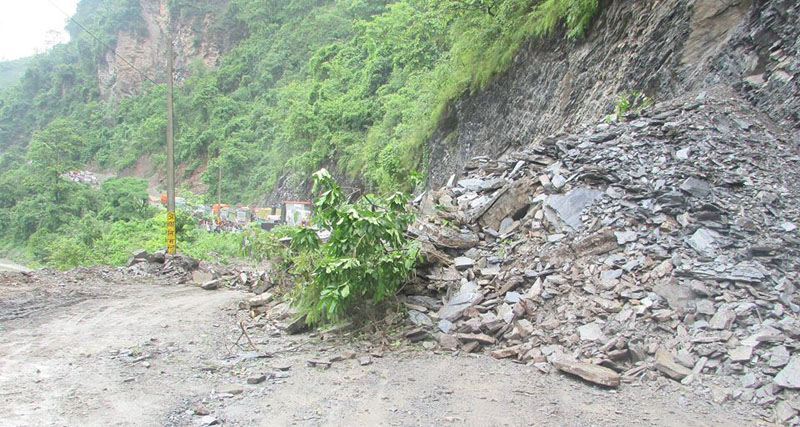 FILE - A view of a landslide that obstructed vehicular movement along Narayangadh-Muglin road section, at Panch Kilo in Chitwan district, on Friday, July 1, 2016. Photo: Tilak Ram Rimal/THT