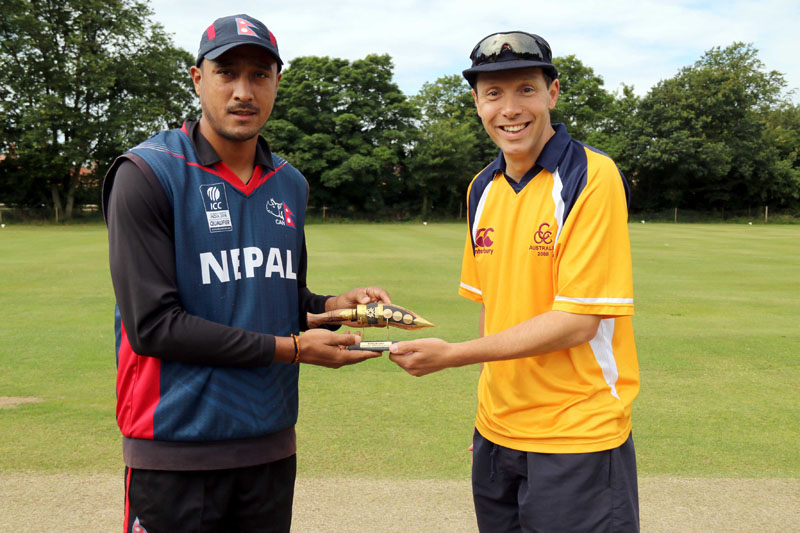 Captain Paras Khadka exchanges souvenir with Club Cricket Conference Captain before the match on Friday July 15, 2016. Photo: Raman Siwakoti