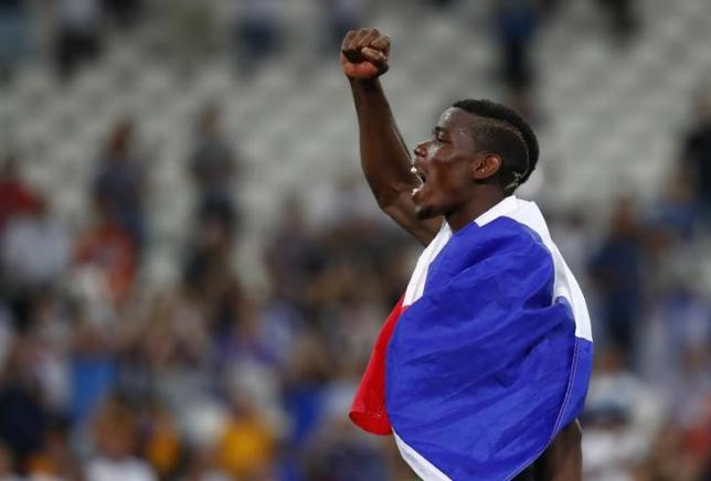 Football Soccer - Germany v France - EURO 2016 - Semi Final - Stade Velodrome, Marseille, France - 7/7/16nFrance's Paul Pogba celebrates at the end of the match nREUTERS/Kai PfaffenbachnLivepic