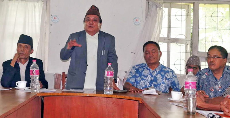 Chief Judge of Pokhara Appellate Court Dambar Shahi briefing on the courtu0092s annual work progress, in Kaski, on Friday, July 15, 2016. Photo: THT