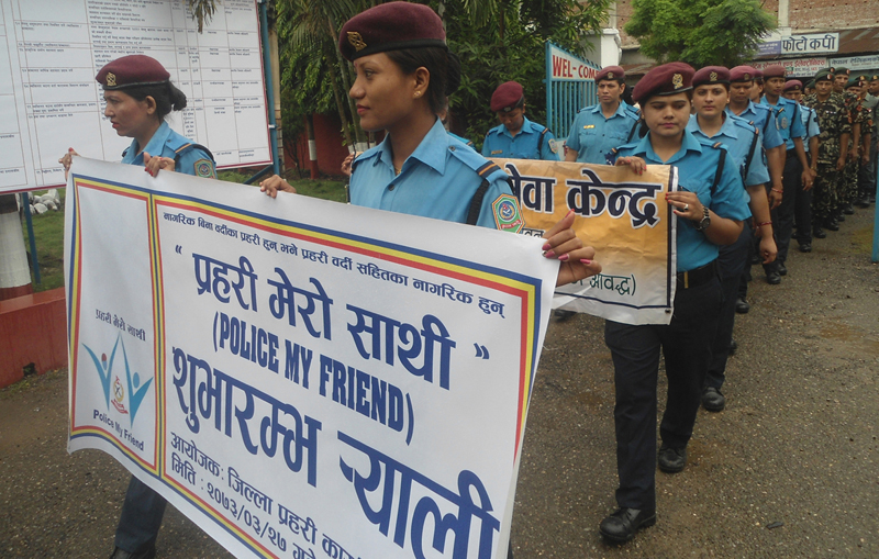 Security personnel take out a rally to mark the nationwide launch of the 'Police My Friend' campaign by Nepal Police, in Bharatpur of Chitwan, on Monday, July 11, 2016. Photo: RSS