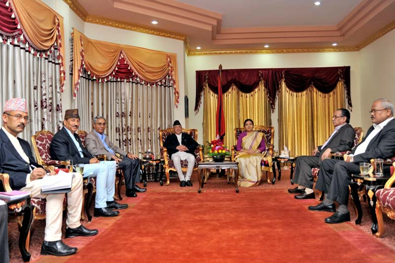 Leaders of the major political parties hold a meeting with President Bidya Devi Bhandari to brief her about their efforts to form a national consensus government, at Sheetal Niwas, on Sunday, July 31, 2016. Photo: President's Office