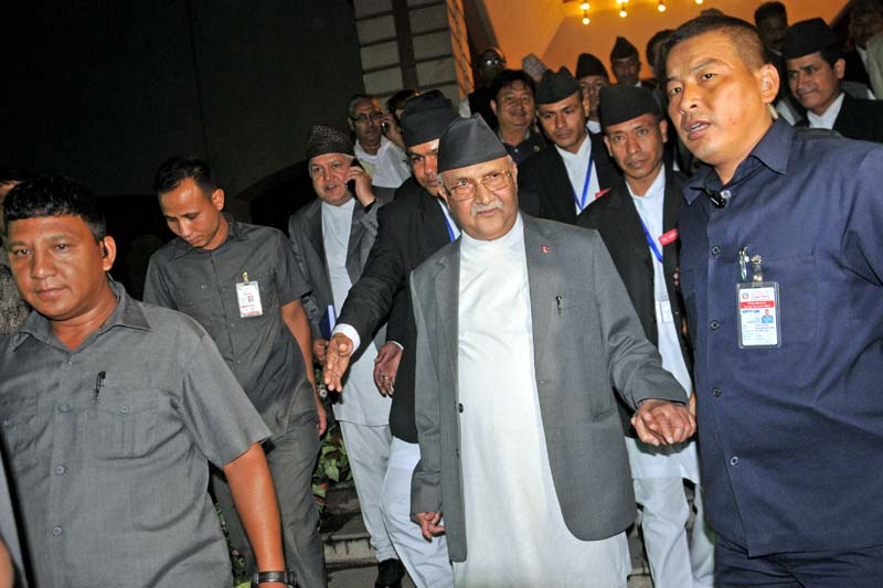 Prime Minister KP Sharma Oli exits the Parliament Building after the meeting, in Kathmandu, on Friday, July 22, 2016. Photo: Bal Krishna Thapa/ THT