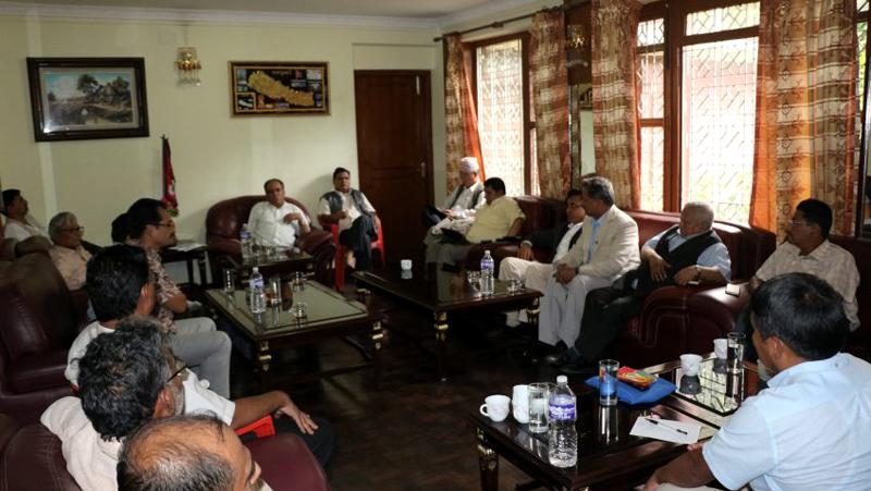 CPN Maoist Centre Central Office meeting takes place in Kathmandu, on Sunday, July 10, 2016. Courtesy: Pushpa Kamal Dahal Secretariat