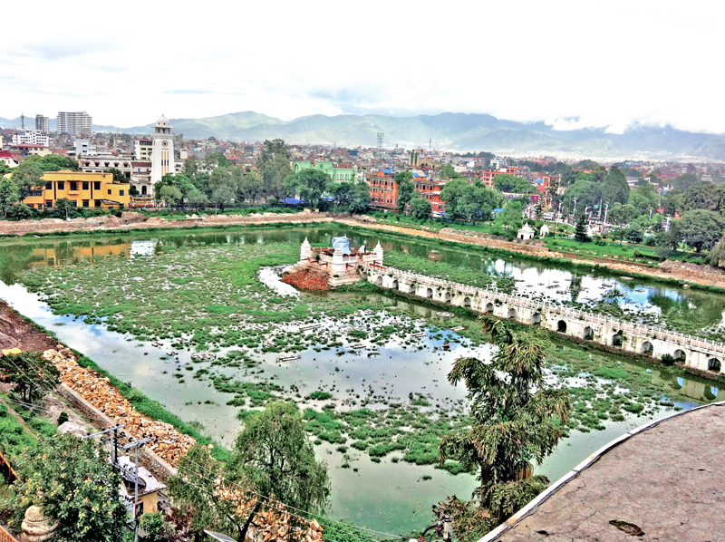 A view of the Balgopaleshwor temple, which was damaged in the April 25 earthquake, in Rani Pokhari, Kathmandu, on Friday, July 8, 2016. Photo: THT