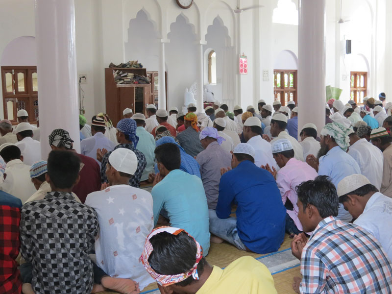 Muslim men of Rautahat's Islamic community attend the morning prayers of Eid al-Fitr holiday, which marks the end of the Muslim fasting month of Ramadan, in a mosque in Rautahat, on July 7, 2016. Photo: Prabhat Kumar Jha