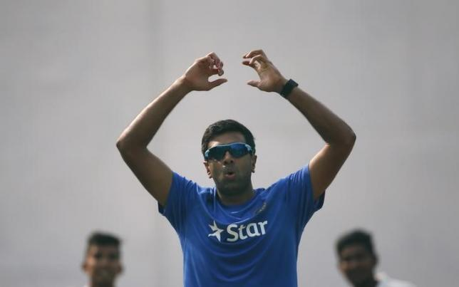 Ravichandran Ashwin reacts after bowling in the nets during a practice session ahead of their first test cricket match against South Africa, in Mohali, India, November 4, 2015. REUTERS/Adnan Abidi/Files