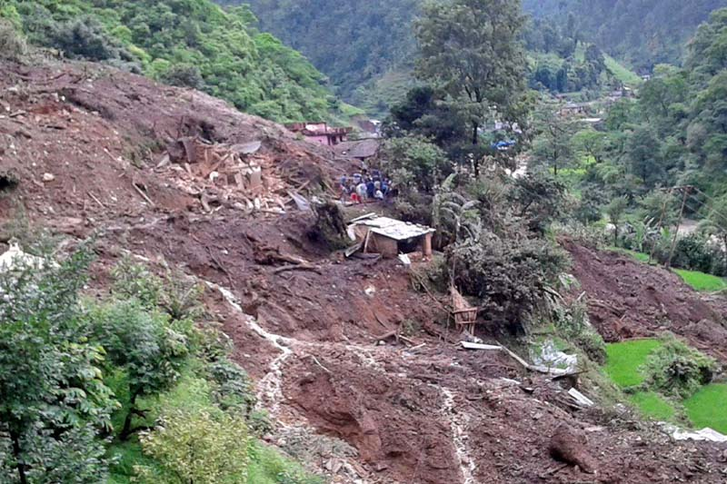 Rubble of houses seen where seven people were killed in a landslide in Pyuthan Municipality, on Wednesday, July 27, 2016. Photo Courtesy:  Pashupati Pandit