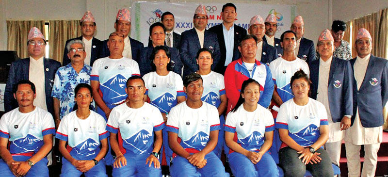 The Rio Olympic Games squad members, coaches, officials and national association representatives pose for a group photo during a press meet in Lalitpur on Saturday.