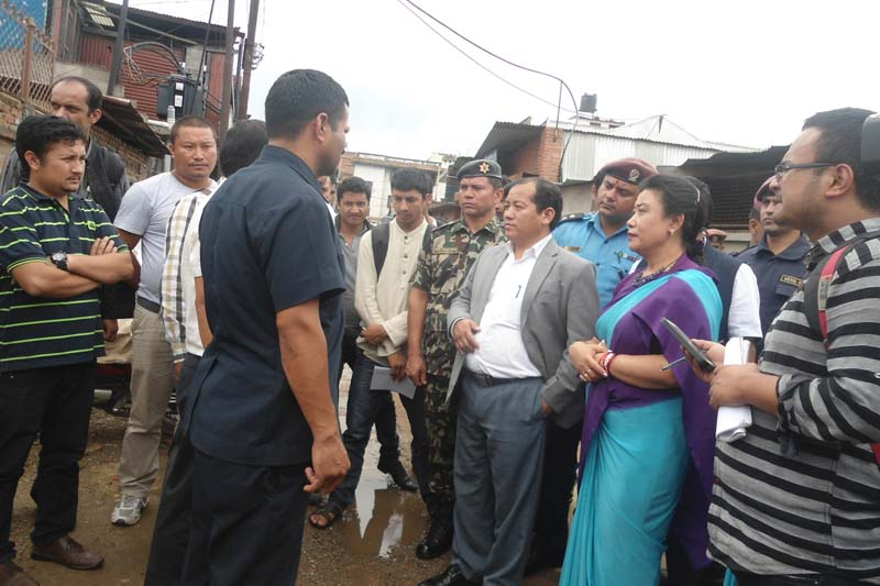 Minister for Supplies Ganesh Man Pun informs journalists about his monitoring at the Patan Industrial Estate of Lalitpur on Wednesday, July 6, 2016. Photo: RSS