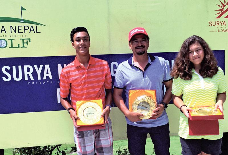 Winners of the Surya Nepal Gokarna Monthly Medal golf tournament in Kathmandu on Saturday.