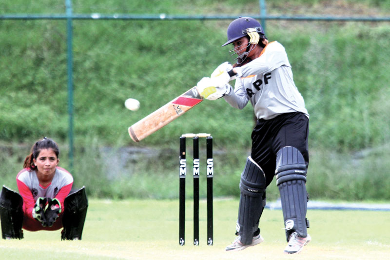 Jyoti Pandey of Nepal APF Club bats against Central Development Region during their  National Womenu0092s Cricket Selection Tournament at the TU Cricket Stadium in Kathmandu on Saturday.
