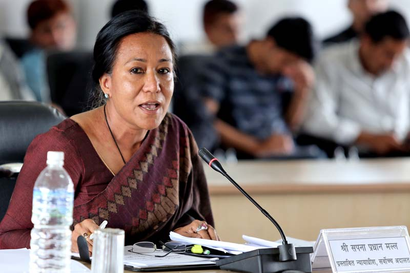 One of the nominees for the Supreme Court justices, Sapana Pradhan Malla, faces parliamentary hearing at a meeting of the Parliamentary Hearing Special Committee (PHSC), in Kathmandu, on Thursday, July 28, 2016. Photo: RSS