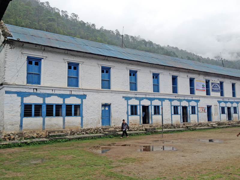 A historical building built by Chandra Shamsher in 1911, where Mahendra Higher Secondary School is now being operated, in Bhimphedi, nMakawanpur, on Monday, July 4, 2016. Photo: THT