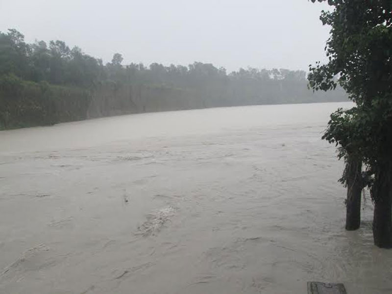 Swollen Seti River after torrential rainfall in Ramghat of Kaski district on Tuesday, July 26, 2016. Photo: Rishi Ram Baral