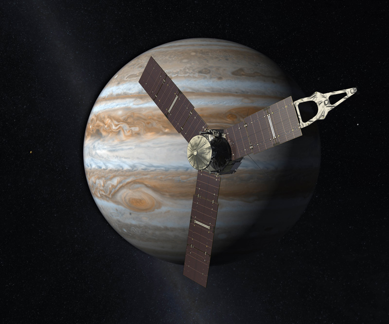 This artist's rendering provided by NASA and JPL-Caltech shows the Juno spacecraft above the planet Jupiter. Five years after its launch from Earth, Juno is scheduled to go into orbit around the gas giant on Monday, July 4, 2016.