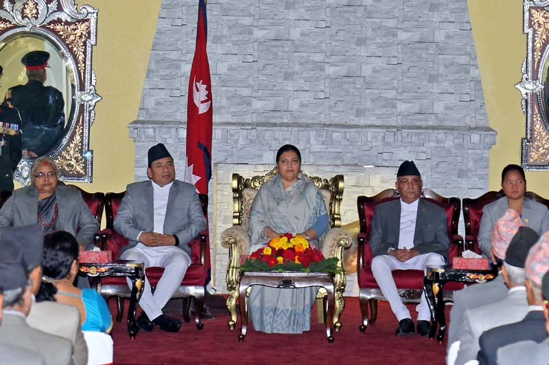 (From left) Chief Justice Sushila Karki, Vice-President Nanda Bahadur Pun, President Bidya Devi Bhandari, Prime Minister KP Sharma Oli and Speaker Onsari Gharti Magar attend a special programme at the President's Office, Sheetal Niwas, on Monday, July 11, 2016. Photo: RSS
