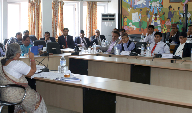 Sushila Karki (left), nominated for the vacant position of Chief Justice of Nepal, faces the parliamentary hearing, at the Parliamentary Hearing Special Committee meeting, in Kathmandu, on Sunday, July 10, 2016. Photo: RSS