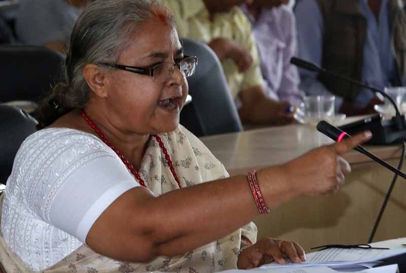 Sushila Karki, nominated for the vacant position of Chief Justice of Nepal, faces the parliamentary hearing, at the Parliamentary Hearing Special Committee meeting, in Kathmandu, on Sunday, July 10, 2016. Photo: RSS