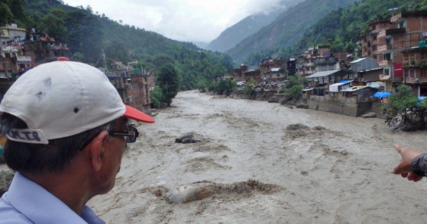 Swollen Bhotekoshi near Barhabise. Photo: Nepal Red Cross Society, Sindhupalchok