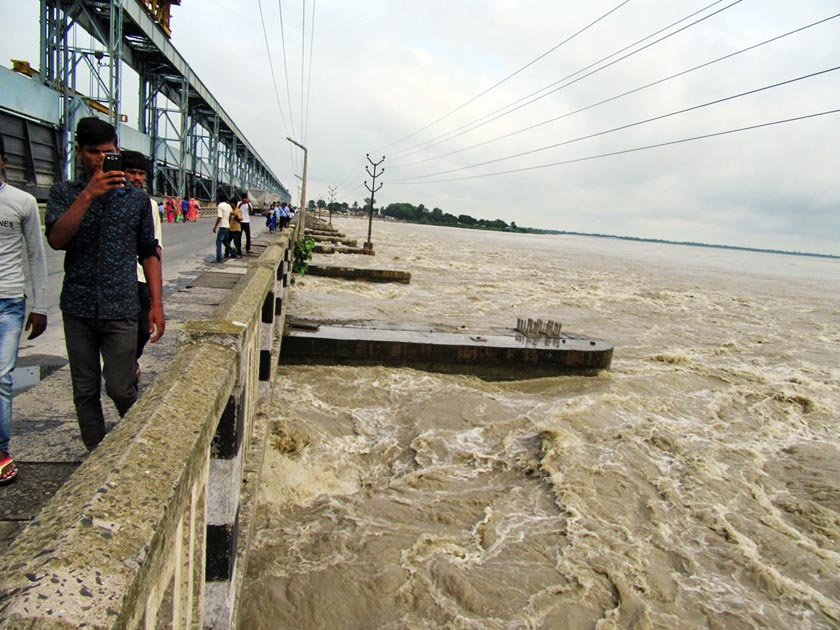 Swollen Saptakoshi at Koshi Barrage on Tuesday, July 26. Out of 56, 35 sluice gates were opened to release water from the mighty river. Photo: RSS
