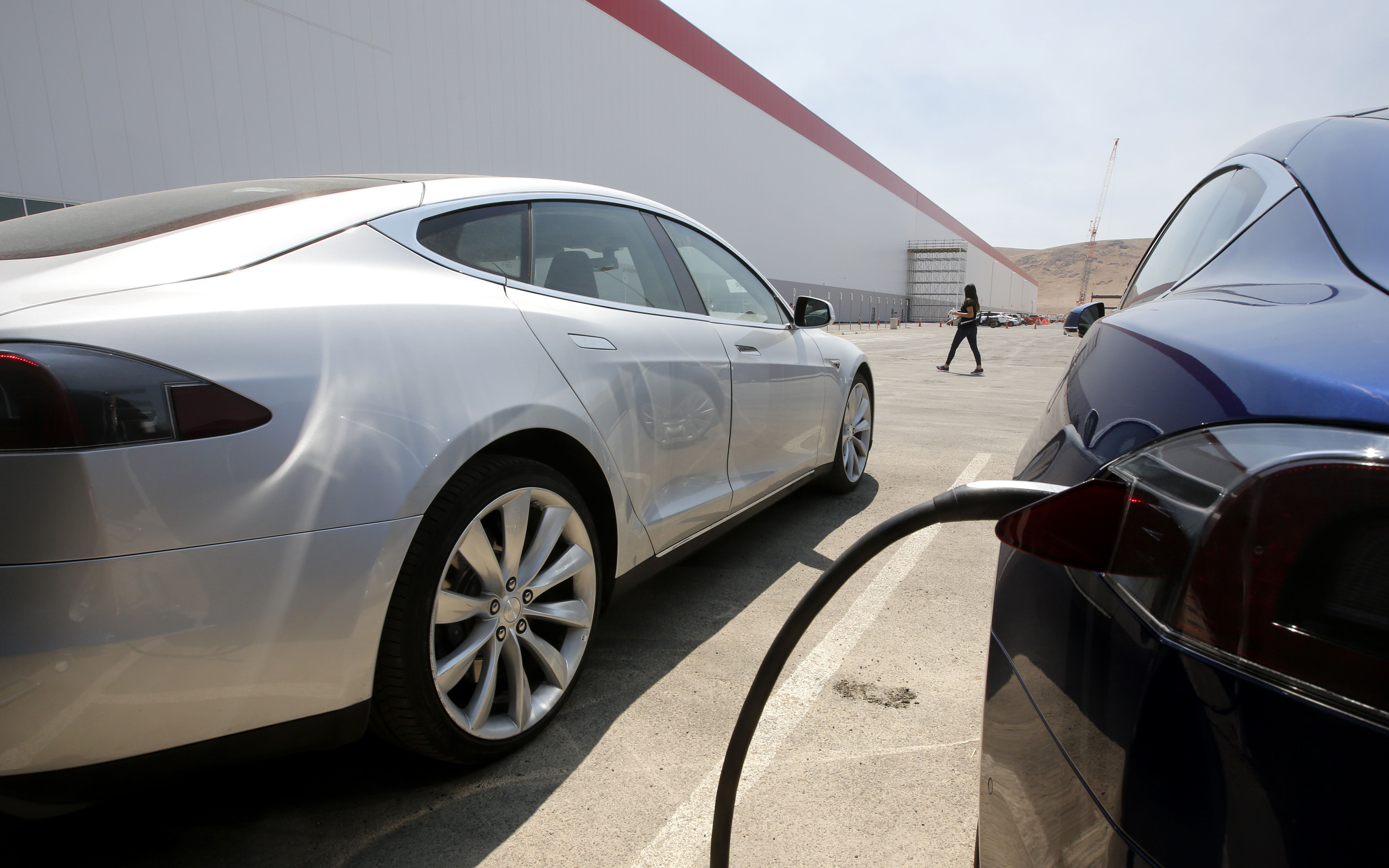 Tesla Motors model S cars are charged at the new Tesla Gigafactory, in Sparks, Nevada, on Tuesday, July 26, 2016. Photo: AP