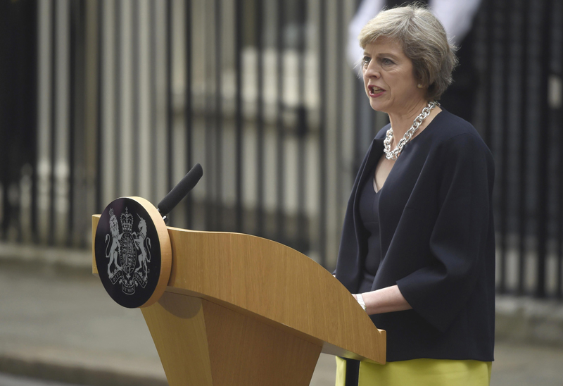 Britain's Prime Minister, Theresa May, speaks to the media outside number 10 Downing Street, in central London, Britain July 13, 2016. Photo: Reuters