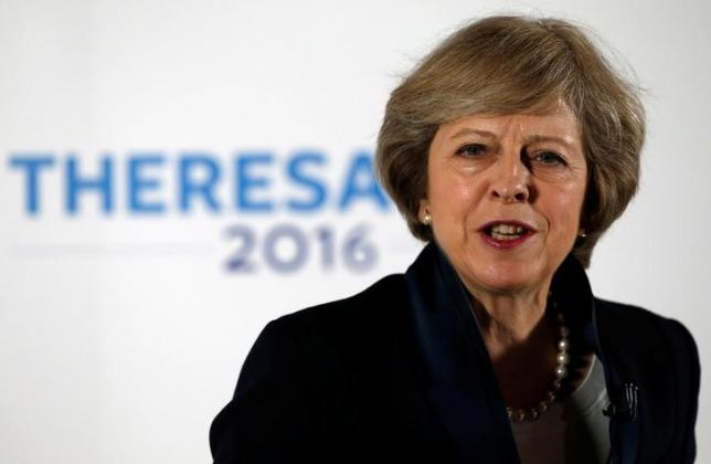 Britain's Home Secretary Theresa May speaks during her Conservative party leadership campaign at the Institute of Engineering and Technology in Birmingham, Britain July 11, 2016.  REUTERS/Andrew Yates/File Photo