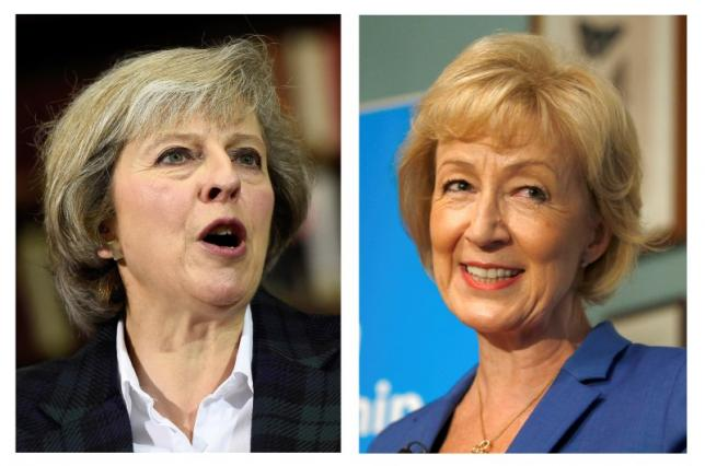 The two remaining candidates in the Conservative party leadership contest, Theresa May (L) and Andrea Leadsom, are seen in this combination of two photographs, released in London, Britain July 7, 2016. REUTERS/Staff