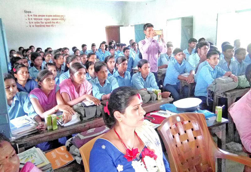 Students of Garuda Higher Secondary School attending a traffic awareness programme in Rautahat, on Thursday, June 30, 2016. Photo: THT