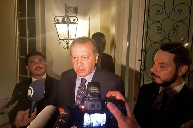 Turkish President Tayyip Erdogan speaks to media in the resort town of Marmaris, Turkey, on July 15, 2016. Photo: Reuters