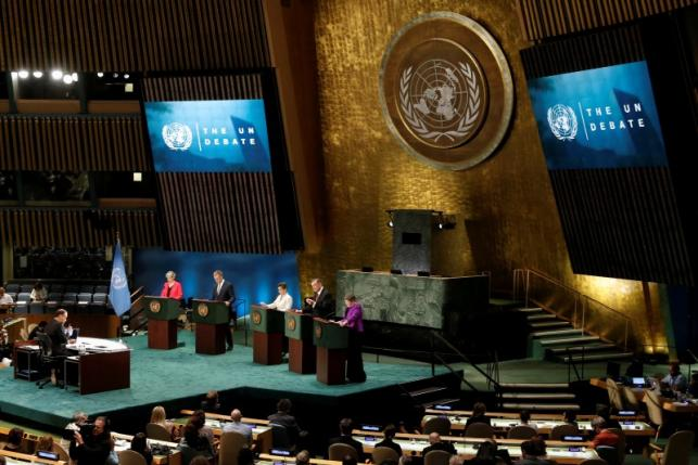 Candidates vying to be the next United Nations Secretary General debate in the U.N. General Assembly at U.N. headquarters in Manhattan, New York, U.S., July 12, 2016. REUTERS/Mike Segar
