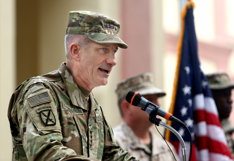 FILE - New US commander in Afghanistan, US Army General John Nicholson speaks during a change of command ceremony at the Resolute Support Headquarters in Kabul, Afghanistan, on Wednesday, March 2, 2016. Photo: AP