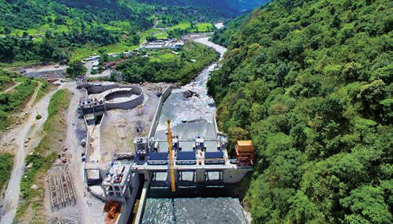 A view of the dam site of Upper Marshyangdi-A Hydropower Project, in Lamjung, on Saturday.