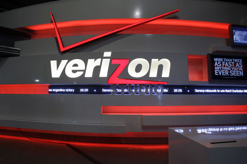 The Verizon studio booth at MetLife Stadium in East Rutherford, N.J. Verizon bought Yahoo in a sale announced on Monday, July 25, 2016. Photo: AP