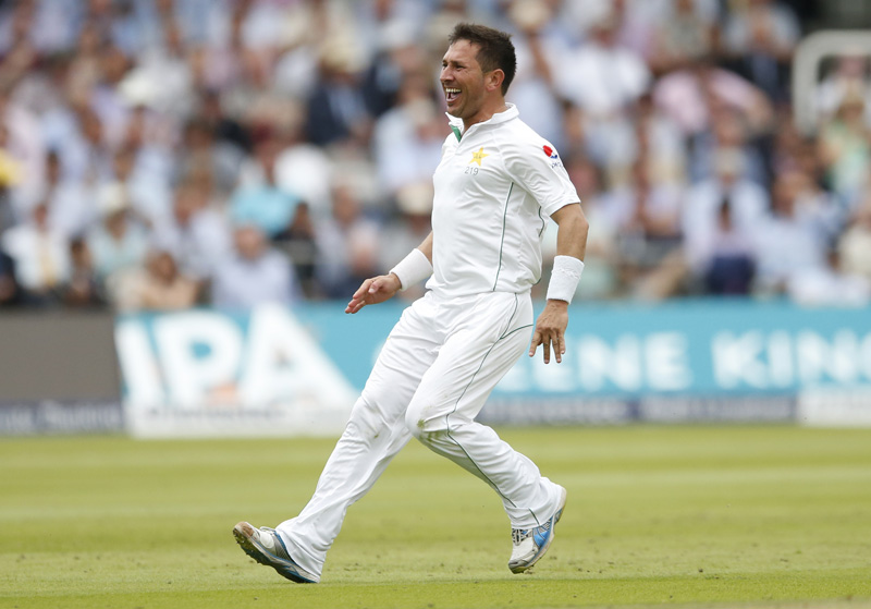 Pakistan's Yasir Shah celebrates after taking the wicket of England's Joe Rootn during First Test match at Lord's on Friday, July 15, 2016. Photo: Reuters