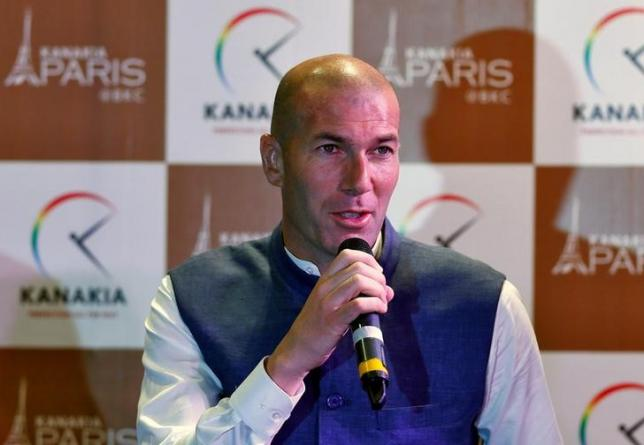 Former French soccer player and current Real Madrid's coach Zinedine Zidane attends a news conference in Mumbai, India, June 10, 2016. REUTERS/Danish Siddiqui/Files