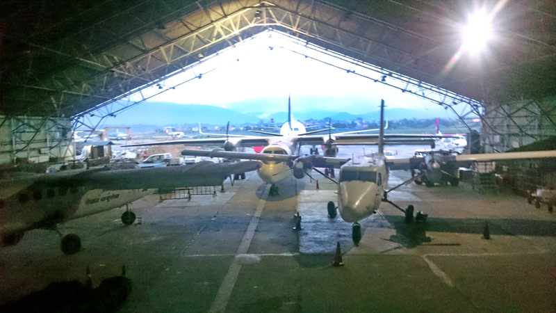 Grounded Nepal Airlines Corporation's aircraft are parked in the hangar of Tribhuvan International Airport for maintenance, in a picture taken on Monday, July 11, 2016. Photo: THT